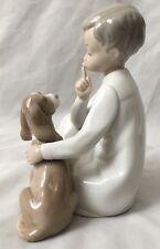 "Lladro - Stunning Humor Gray White 5X8"" Child with Dog Shh. Finger Up Figurine"