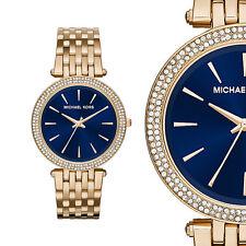 Michael Kors MK3406 Darci Zirkonia Blau Gold Edelstahl Damenuhr Armbanduhr