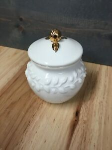 Claire Burke White And Gold Lidded Jam Jar