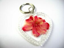 Vintage Collectible Keychain: Red Pink Pressed Flower in Acrylic Heart