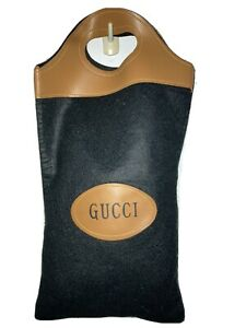 GUCCI Tote Handbag Dust Bag Clutch Black Wool