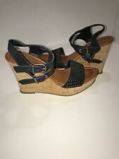 American Eagle Outfitters Cork Wedge Ankle Strap Sandals Size 7