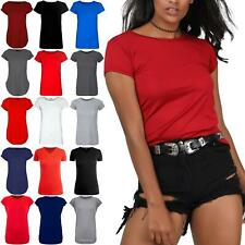 Womens Ladies Stretchy Cap Sleeve Casual Plain Round Neck Basic Jersey T Shirt