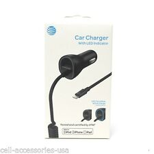 New OEM AT&T Certified MFI Lightning Car Charger iPhone X/8/7/6s/6/5/SE/5s Plus