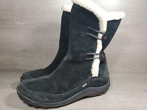 Merrell Women's Yarra Black Suede Fur Polartec Waterproof Winter Boots sz 8 (c1
