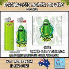 Lighter Stickers / Wrap x9 - Standard Bic Lighter - RICK & MORTY - PICKLE RICK