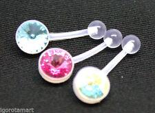 Rhinestone Bioplast/Bioflex Body Piercing Jewellery