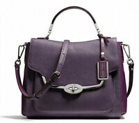 NWT COACH Madison Small Sadie Flap Saffiano Satchel Siver Violet F26274