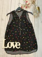The Kooples M 10 black silk multi coloured star vest top summer holiday casual
