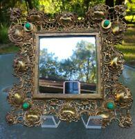 """Vintage Ornate Lace Gold Gilt Metal Mirror~Frame Vanity Dresser~12"""" Square ❤"""