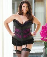 Plus Size Corset With Floral Lace Overlay - Coquette 1094X
