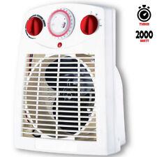Termoventilatore da Bagno con timer 1000 / 2000W Bianco Termostato Regolabile