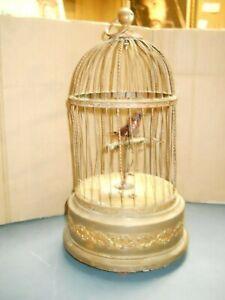ANTIQUE VINTAGE MUSIC BOX SING BIRD IN ORNATE BRASS CAGE WINDUP GERMANY AUSTRIA