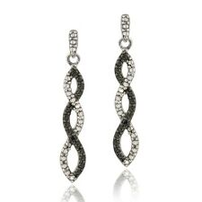 .925 Silver Black Diamond Accent Infinity Dangle Earrings