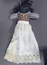 VINTAGE BLACK AMERICANA HANDMADE RAG DOLL WITH ATTACHED APRON