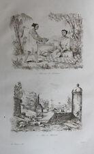 1834 Voyage autour du monde d'Urville gravures double feuille Sumatra Indonésie