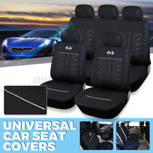 9PC Universal Full Set Car Seat Covers Polyester Breathable for Sedan SUV Truck