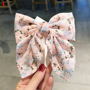 Flower Big Bow Hair Clips Barrettes Large Bow Knotted Women Girls Cute Hairpins