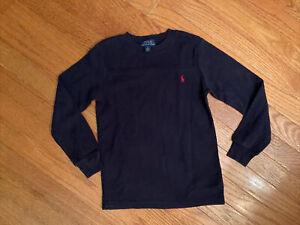 polo ralph lauren size 6 boys thermal shirt navy blue kids red logo