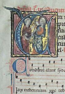 Very rare illuminated liturgy manuscript leaf,Music staffs,gold initials,c1280