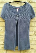Lovely White Stuff 100% Cotton Blue Chunky Knitted Stretchy Cardigan 14