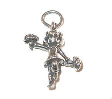 STERLING SILVER CHARM Sports Pom Pom Cheerleading CHEERLEADER