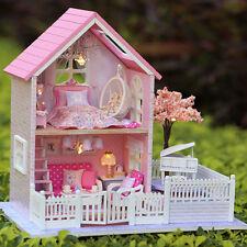 DIY Wooden Plastic Doll House Miniatura Handmade Pink Cherry Blossoms Gift Decor