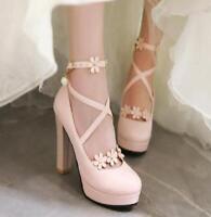 Women's Sweet Lolita Round Toe Platform Shoes Buckle High Heels Chunky Flower
