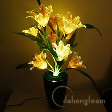 Colorful Lily Flower Changing Potted Fiber Optic Lamp Home Party Wedding Decor