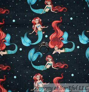 BonEful Fabric Cotton Quilt Black Red Sea Siren Mermaid Blue Bubble Dot FL SCRAP