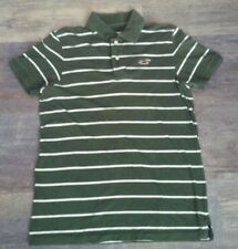 Men's Hollister Polo OLIVE GREEN/WHITE*Size XL Striped *Pre-owned