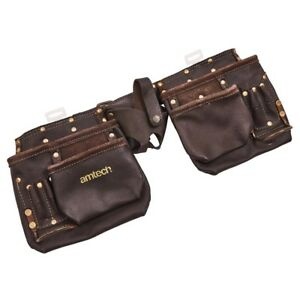 Tool Leather Belt Pouch Hammer Holder 12 Pocket Heavy Duty Oil Tanned Double New