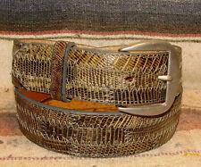 Vintage Tony Lama Gray Brown Lizard / Leather Western Dress Belt Size 30 New