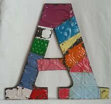 "Large Reclaimed Tin Ceiling Wrapped 16"" Letter 'A' Patchwork Metal Chic Metal"