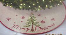 """Jaclyn Smith 48"""" Christmas Tree Skirt Tan Woven Fabric & Christmas Tree - NIP!"""