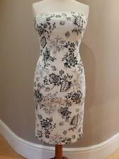 COAST Off White & Black print floral plant design Bandeau fitted dress size 14