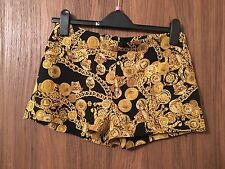 VERSACE Black & Gold Chain Print Silk Short Taille UK 6/IT 1, UK 8/IT 2