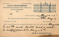 Ellis & Helfenberger, Foundry & Fence Company, Indianapolis IN Indiana 1895
