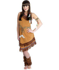 Large Ladies Indian Squaw Costume - Fancy Dress Red Pocahontas Outfit Fun Shack