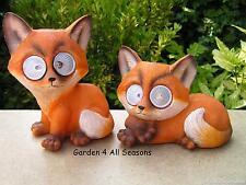 PAIR of FOX Solar Lights LED Bright Eyes Pet Animal Garden Ornaments Great Gift