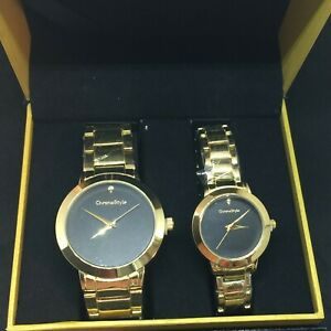 New in box His and Hers watches Gold color Black face Gift Set By Chronostyle