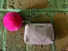 Victoria's Secret Pink Glitter Sparkly Coin Purse Credit Card Holder W/Faux Fur