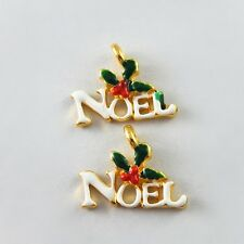 Multi-Color Christmas Jewelry NOEL Word Alloy Handmade Necklace Charms 20X 51777