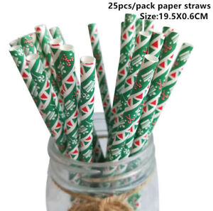 25pcs Christmas Paper Straws Snowflake Drinking Straw. Christmas Decorations