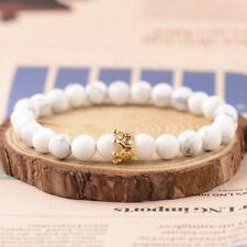White Howlite Stone Bead Bracelets Gift 2019 Men Women Gold Crown 8mm Natural