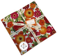 "Sue Zipkin, Zinnias In Bloom, 10"" Fabric Quilt Squares, Layer Cake, Clothworks"