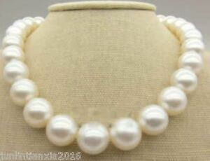 """New Huge 11-12MM Natural AAA+ South Sea white pearl necklace 18"""""""