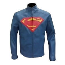 Man of steel Superman Cosplay Blue Motorcycle Leather Jacket for mens |All Sizes