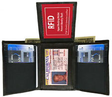 RFID SAFE BLACK MENS GENUINE LEATHER FLAP TOP 14 CREDIT CARDS ID TRIFOLD WALLET