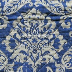 BLUE BEIGE TAN 3pc KING QUILT FLORAL DAMASK MEDALLION REVERSIBLE STRIPE TAHARI
